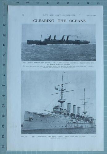 1914 WW1 PRINT KAISER WILHELM GERMAN ARMED MERCHANT CRUISER HMS HIGHFLYER