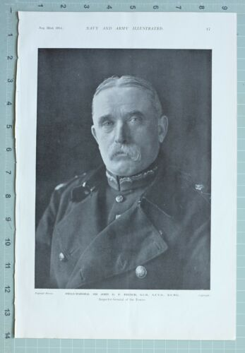 1914 WW1 PRINT FIELD MARSHAL SIR JOHN D. FRENCH INSPECTOR GENERAL OF FORCES