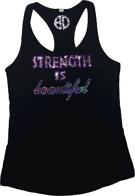 Womens Strength Is Beautiful Bling Tank Top Sequins Workout Gym Fitness Shirt