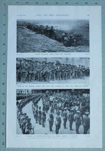 1914 WW1 PRINT FRENCH INFANTRY FIRING TRENCHES BRITISH TROOPS FUNERAL J GRIERSON