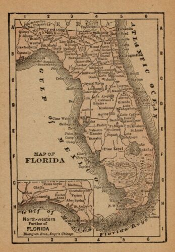 1888 Antique FLORIDA State Map MINIATURE Vintage Map of Florida Wall Art 8947
