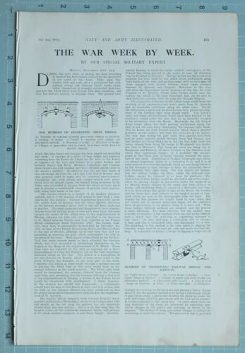 1914 WW1 PRINT NAVY & ARMY EDITORIAL DESTROYING STONE BRIDGES RAILWAY HOWITZER