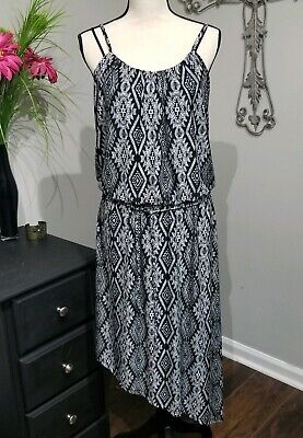 Black Uneven Hem Dress - French Laundry Dress Size Large Black And White Summer Drop Waist Uneven Hem...