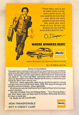 Oj Simpson Hertz Identification Card  May 1979  Car Rental  Footballs O J