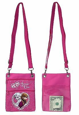 Disney Frozen Pink Elsa Anna Wallet Camera Pouch Bag Purse Shoulder Strap 7.5