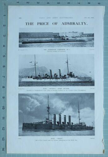 1914 WW1 PRINT AUSTRALIAN SUBMARINE AE 1 HMS PEGASUS LIGHT CRUISER HMS CRESSY