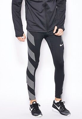 a36696f569 Nike Men'n Dri Fit Flash Running Tights Large 683896 010 Black Gym Pants  Size M