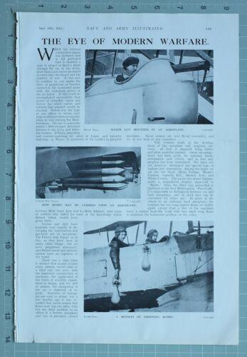 1914 WW1 PRINT AEROPLANE BOMBS MAXIM GUN STERN VIEW SEA PLANE