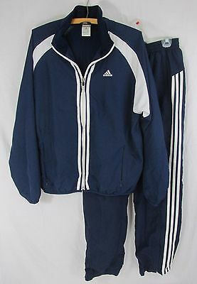 Adidas Blue 2 Pc Track Suit Zippered Jacket Pants Mens Unisex Size S Climaproof
