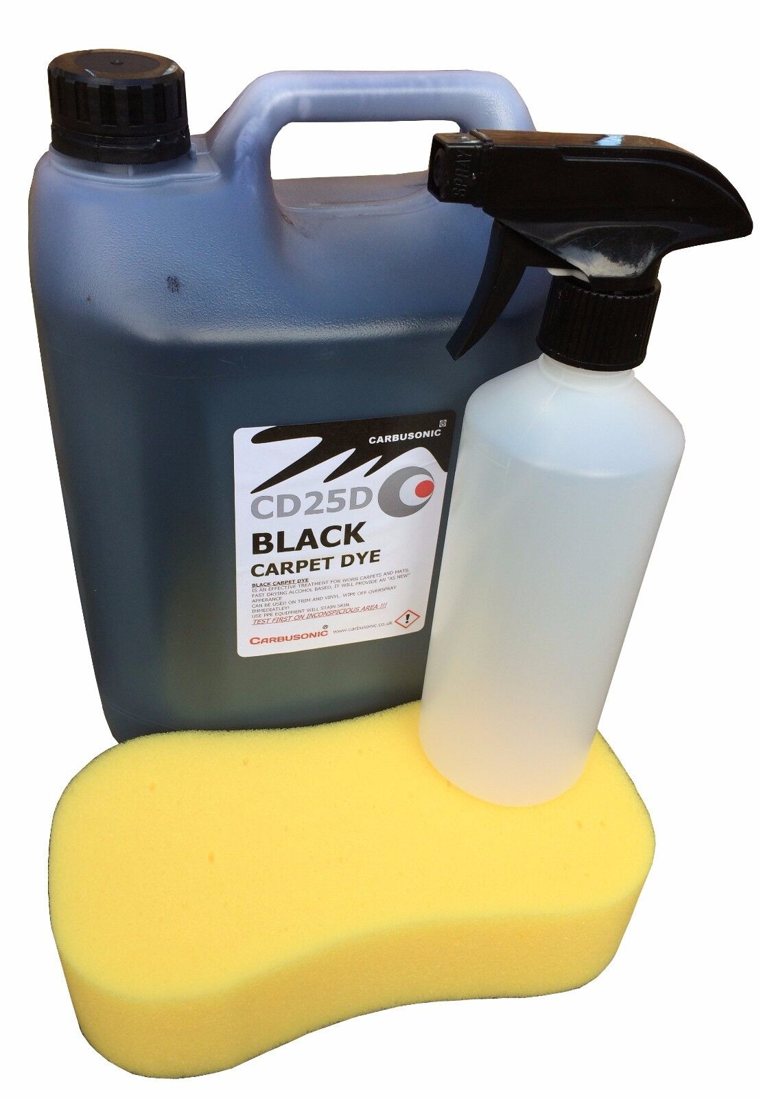 5 litre black carpet dye with trigger spray & sponge, car carpet renovation.