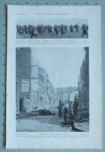 1914 WW1 PRINT FRENCH INFANTRY RECAPTURE OF MULHAUSEN
