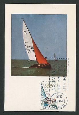 SPAIN MK 1968 OLYMPIA SEGELN SAILING SHIP MAXIMUMKARTE MAXIMUM CARD MC CM c9153