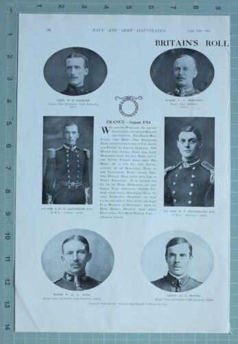 1914 WW1 PRINT BRITAINS ROLL OF HONOUR CAPTAIN GATACRE MAJOR YATE LIEUT WYENNE
