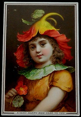 Victorian NEW YEARS Card  Girl with Flower Hat