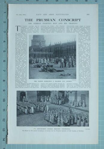 1914 WW1 PRINT GERMAN MEN & TRAINING KAISER INSPECTING MACHINE GUN SECTION