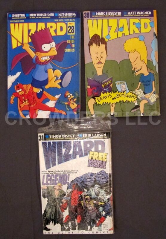 Wizard Comics Magazine #28 December 1993 Simpson #30 February #31 March Legends