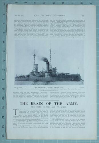 1914 WW1 PRINT BATTLESHIP ANDREI PERVOSWANNI FIELD MARSHAL EARL KITCHENER