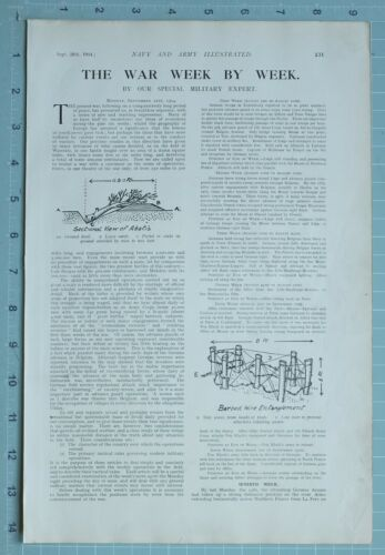 1914 WW1 PRINT NAVY & ARMY EDITORIAL BARBED WIRE ENTANGLEMENT FIRE TRENCH
