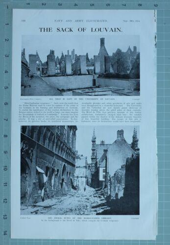 1914 WW1 PRINT SACK OF LOUVAIN RUINS OF LIBRARY UNIVERSITY