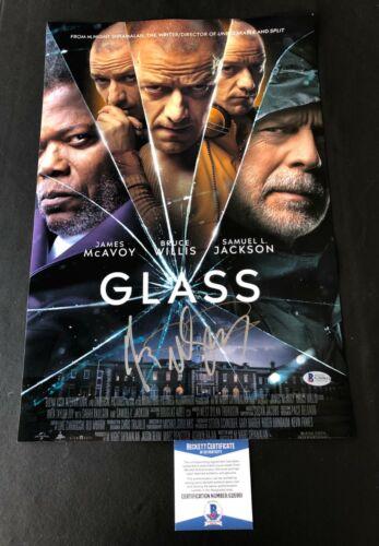 M. NIGHT SHYAMALAN & JAMES MCAVOY  SIGNED GLASS 12X18 PHOTO  AUTOGRAPH BAS COA