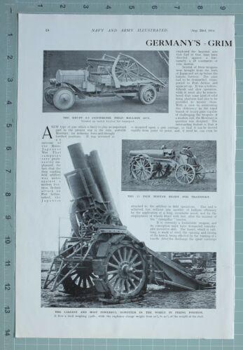 1914 WW1 PRINT GERMAN WAR ENGINE KRUPP FIELD BALLOON GUN HOWITZER MORTAR TRACTOR