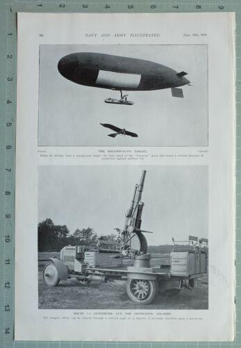 1914 WW1 PRINT AIRSHIP BALLOON GUN TARGET ~ KRUPP GUN FOR DESTROYING AIR-SHIPS