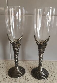 Champagne Flutes Silver Bird Decoration Set 2