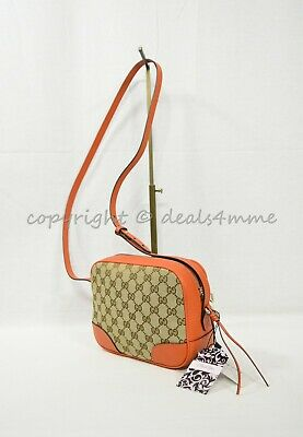 82946c9b9162 NWT Gucci Bree Shoulder / Crossbody Bag in GG Canvas and Orange Leather Trim