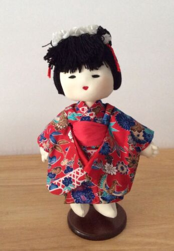 "VINTAGE PLUSH JAPANESE DOLL SOFT CLOTH 14"" WITH STAND NO BOX ""VHTF"""