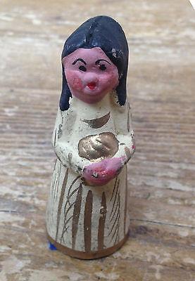 Mexican Pottery Folk Art Nativity Creche Figurine #13 Girl Pursed Lips Gift Blk](Black Nativity Figurines)