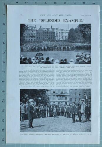 1914 WW1 PRINT CITY OF LONDON REGIMENT BATTALION LORD ROBERTS
