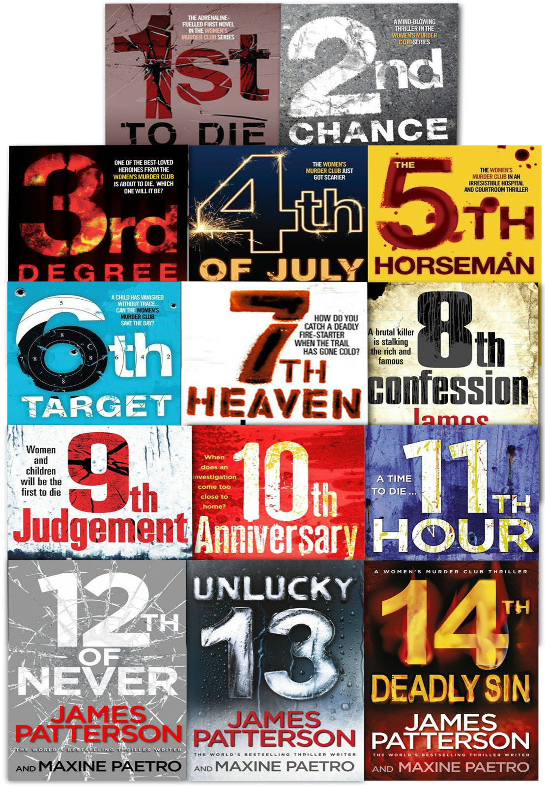Womens Murder Club Collection James Patterson 14 Books Set 10th Anniversary,  etc