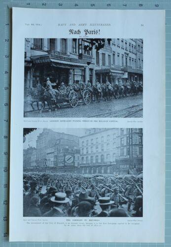 1914 WW1 PRINT GERMAN ARTILLERY PASSING THROUGH BELGIAN CAPITAL BRUSSELS