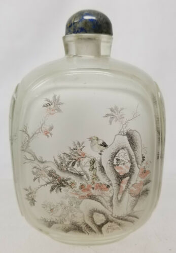 Antique Chinese Reverse Inside Painted Snuff Bottle Landscape As Is