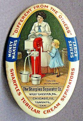 early SHARPLES CREAM SEPARATOR Woman Standing Version dairy pocket mirror *