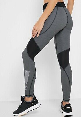 Adidas Ladies Leggings ALPHASKIN Badge of Sport Grey Black Climacool Gym Yoga