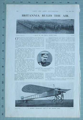 1914 WW1 PRINT SQUAD OF ROYAL FLYING CORPS BLERIOT MONOPLANE WEST COAST CLIFFS