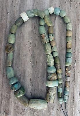 (B) Rare Ancient Neolithic Strand Beads Chalcedony Amazonite