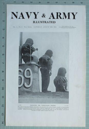 1914 WW1 PRINT PROTECTING UNDER-WATER DIVER BRITISH SUBMARINES HELMET