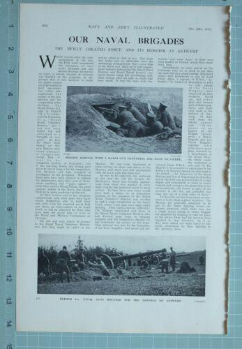 1914 WW1 PRINT NAVAL BRIGADES ANTWERP BRITISH MARINES MAXIM GUNS NAVAL GUNS