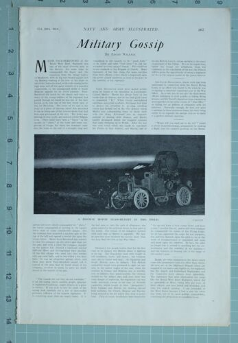 1914 WW1 PRINT FRENCH MOTOR SEARCHLIGHT IN THE FIELD