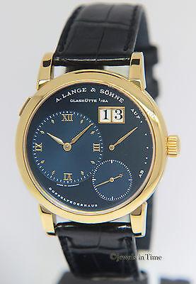 A. Lange & Sohne Lange 1 Doppelfederhaus 18k Yellow Gold RARE Blue Dial 101.028