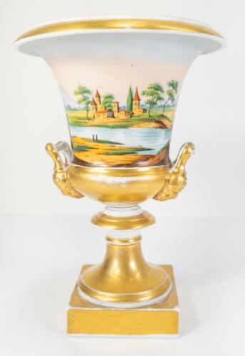 Antique French Old Paris Meissen Gilt Porcelain Urn Tuscan Scene Landscape