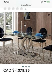 Channel glass dining table