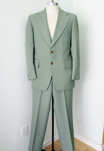 Vtg 70s SUPERFLY Green Plaid Polyester Disco Pimp 2-Pc Suit Wide Lapel 38