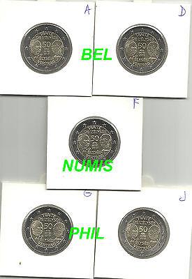 DUITSLAND 2013 - 5 x 2 Euro - 50 Jaar Elysée-verdrag met Frankrijk - UNC!