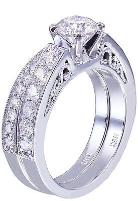 GIA H-SI1 14k White Gold Round Cut Diamond Engagement Ring And Band Deco 1.45ctw 3
