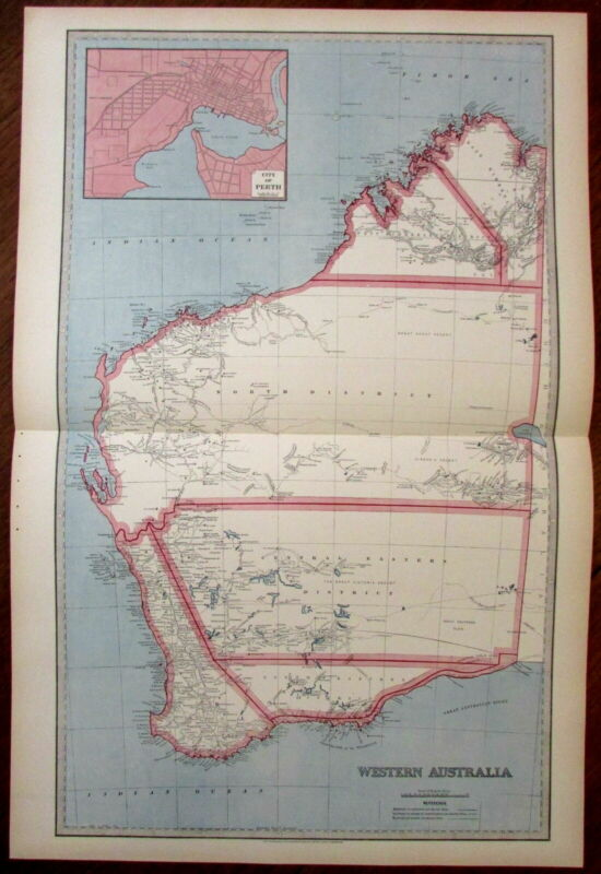 Western Australia very detailed oversize antique map 1888 Scally color detailed
