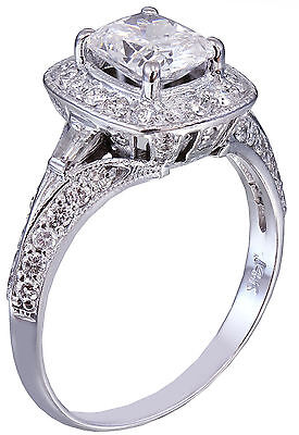 GIA G-SI1 14K WHITE GOLD CUSHION CUT DIAMOND ENGAGEMENT RING DECO 1.70CTW 5