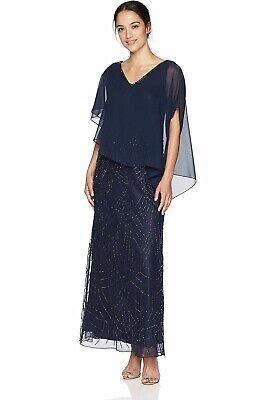 J kara Chiffon 349$ Overlay V-Neck Beaded Gown Dress Sz 6